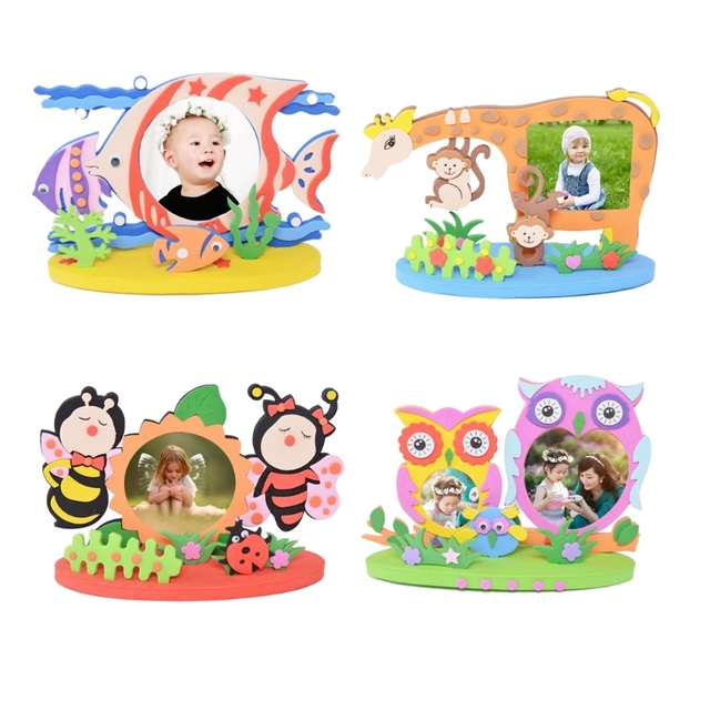 DIY Bee Owl Giraffe Fish Photo Frame Foam Craft Kits Educational ...
