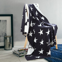 1 PCS 127 153CM Blankets Cotton British Five Pointed Star Knitted Blanket For Home Beds Sofa