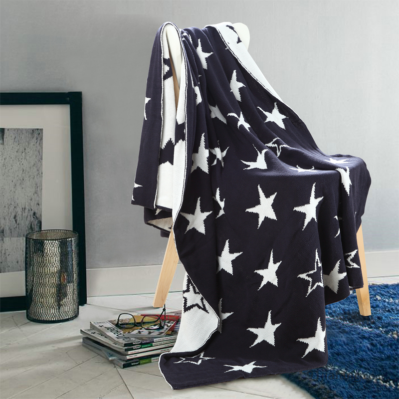 1 PCS 127*153CM Blankets Cotton British Five-pointed Star Knitted Blanket For Home Beds Sofa Office Portable Blankets V20 new knitted blankets towels luxury hotels home sofa wool blanket europe leisure jacquard cotton blanket decorative bedding