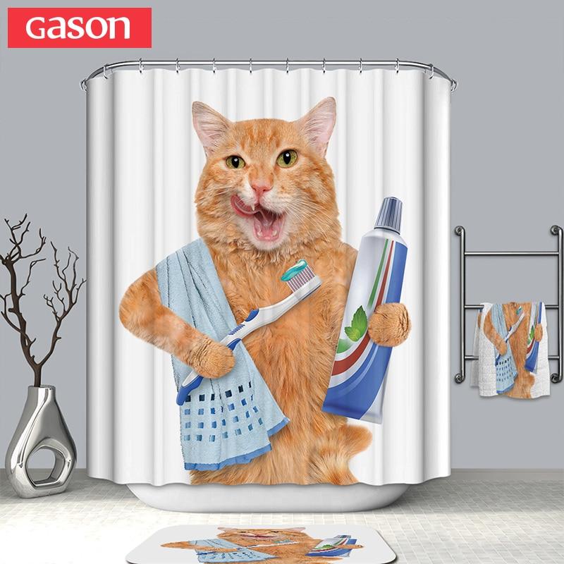 GASON salle de bains rideau qualité naturel polyester imperméable 2 m tissu 3D ferme pet chat décoration simple salle de bains rideau de douche