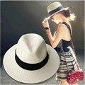 Лето флоппи соломы панама пляж шляпы для женщин чаепитие моде классические черный пояс джаз шляпа сомбреро chapeu feminino mujer