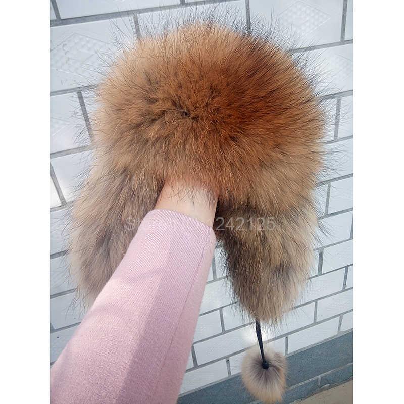 Invierno Rusia piel sombrero niño Real piel de zorro sombrero niños gorros con orejeras pompón mapache oído cálido zorro sombreros en pelo