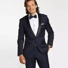 Fashion Dark Blue Mens Custom Made Wedding Suit Groom Tuxedos Best Man Blazer Black Shawl Lapel Slim Fit Terno Masculino 2Piece
