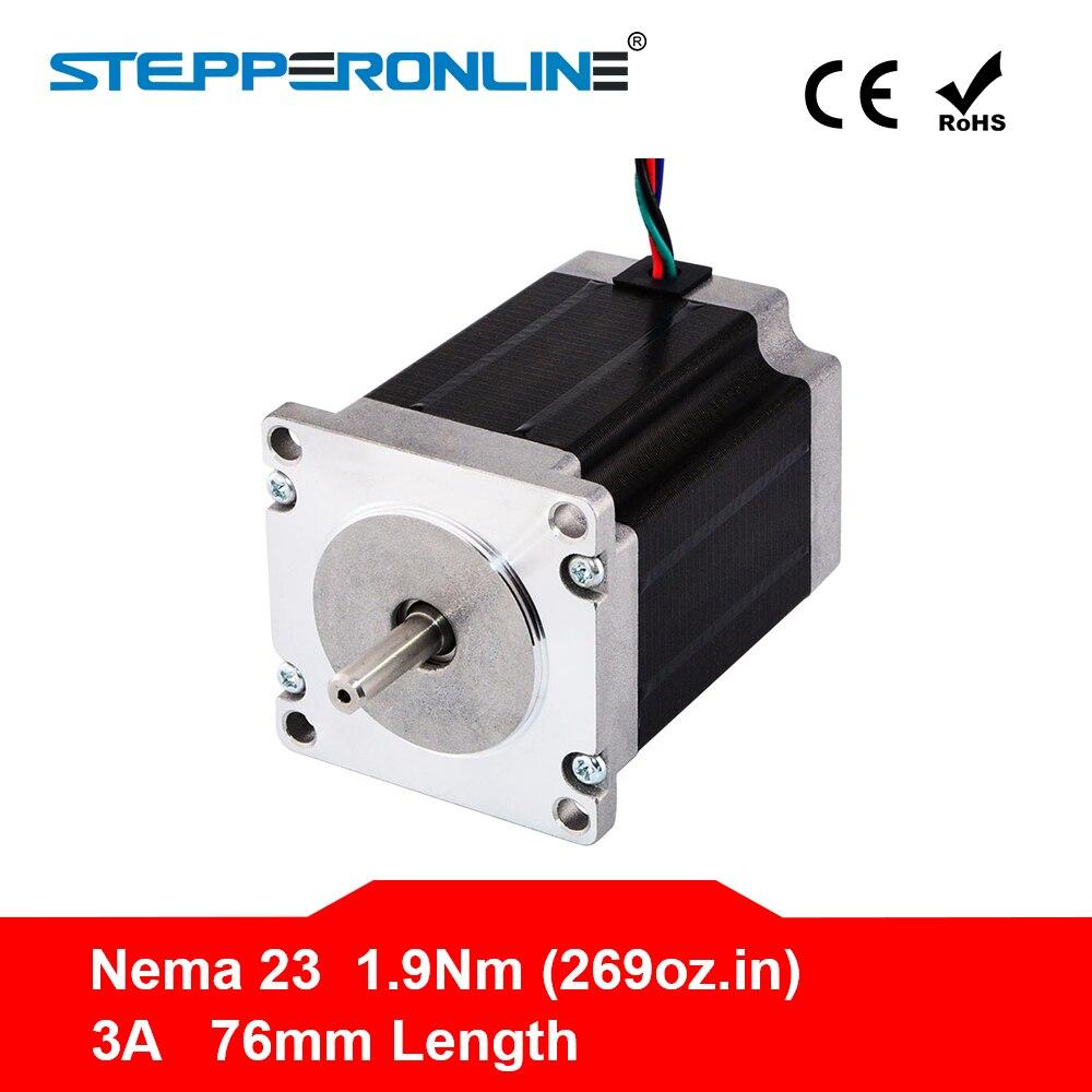 ¡Envío gratis! 1 unid Nema 23 Motor de pasos 57 Motor 1.9Nm (269oz en) 3A 76mm Nema23 de Motor paso a paso 4-plomo para la fresadora CNC