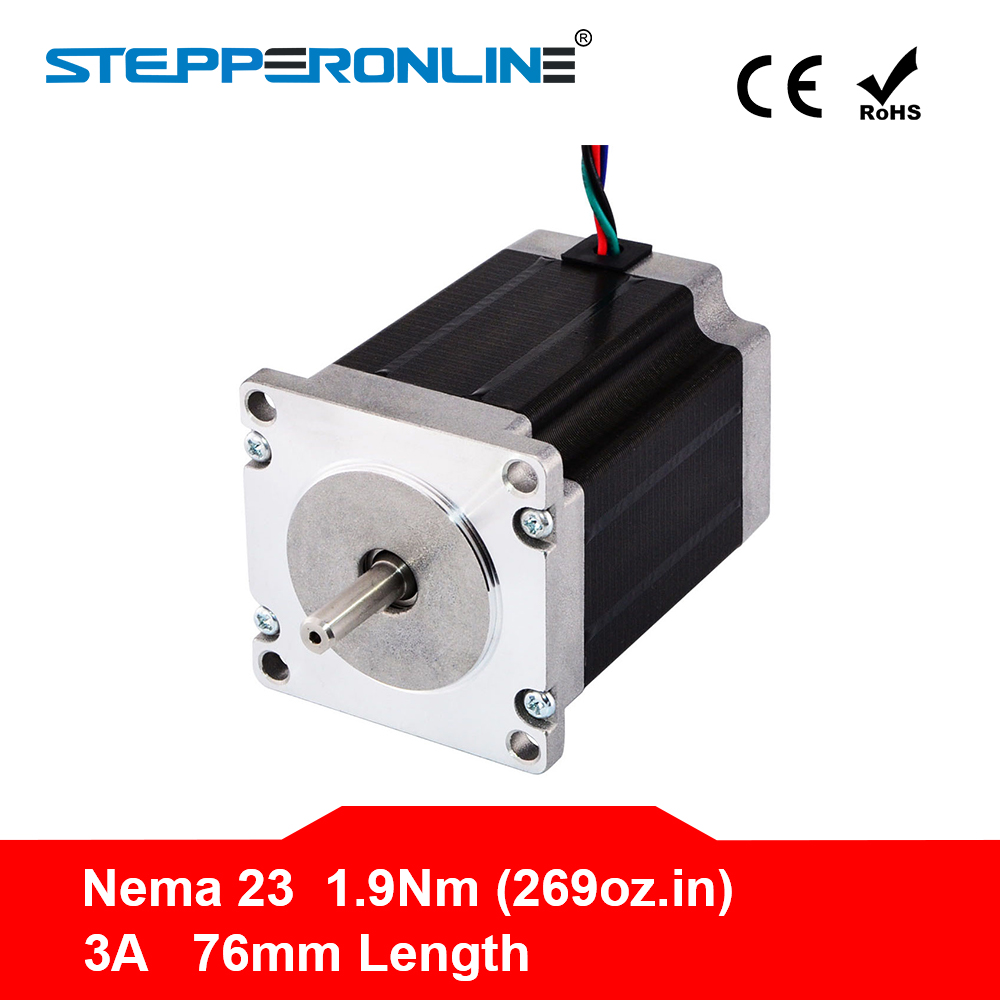 Free ship ! 1PC Nema 23 Stepper Motor 57 Motor 1.9Nm(269oz.in) 3A 76mm Nema23 Step Motor 4-lead for CNC Milling Machine free ship 3pcs dual shaft nema 23 stepper motor 1 89n m 268oz in 76mm 3a direct selling