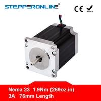 Free ship ! 1PC Nema 23 Stepper Motor 57 Motor 1.9Nm(269oz.in) 3A 76mm Nema23 Step Motor 4 lead for CNC Milling Machine