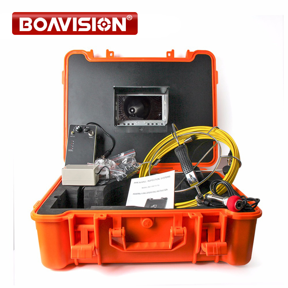 40m Fiber Glass Cable Waterproof Industrial Sewer Pipe Inspection Underwater Camera 12Pcs Leds with 7 LCD Portable Plastic Case