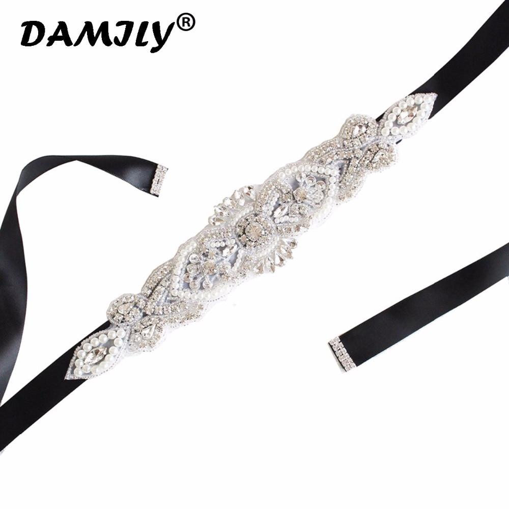 Women's Wedding   Belts   Rhinestone Wedding Dress   Belt   Wedding Accessories Satin Ribbon Bridal Sash Party Gown Bride Crystal   Belt