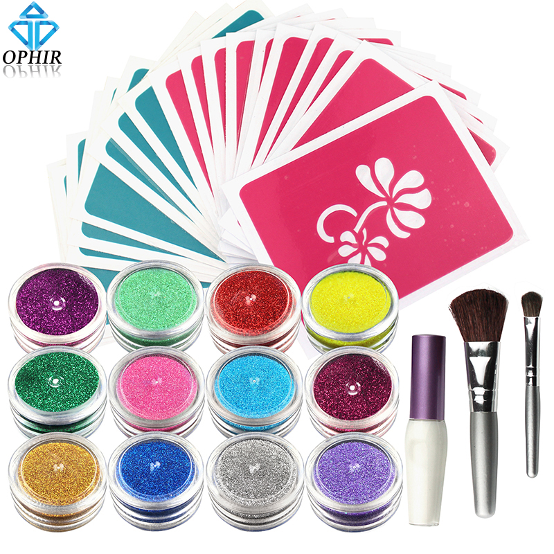 OPHIR 12x Shimmer Pulver Tillfällig Glitter Tattoo Set för Body Art Paint med Body Lim 20 Designs Stencil & 2x Brushes_TA060