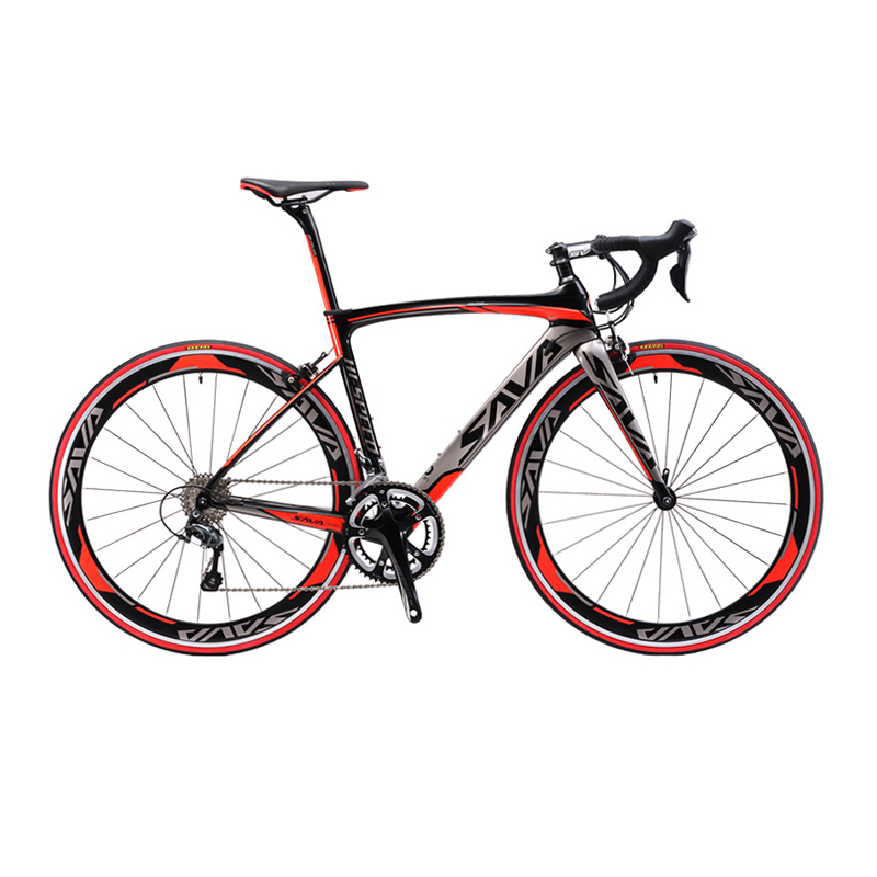 SAVA 700C Carbon Fiber Road Bike Complete Bicycle Carbon Cycling BICICLETTA Road Bike SHIMANO SORA R3000 18 Speed Bicicleta