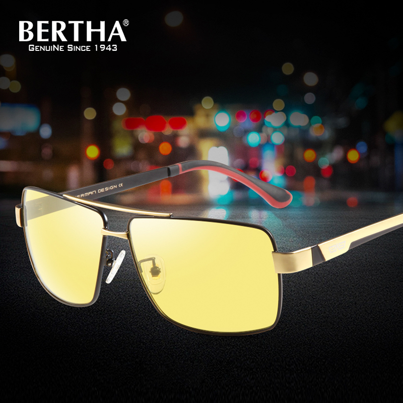 Bertha Polarized Men Sunglasses UV400 Day&Night Vision Driving Photochromic Square Glasses BSYS031 bertha high guality fashion aviator hd polarized sunglasses men driving fishing glasses brand designer for men 8002
