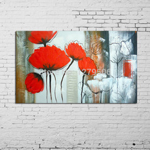 Whosale Hand Painted Textured Palette Knife Oil Paintings On Canvas Modern classical red Tree Flowers Wall Decorative Picture