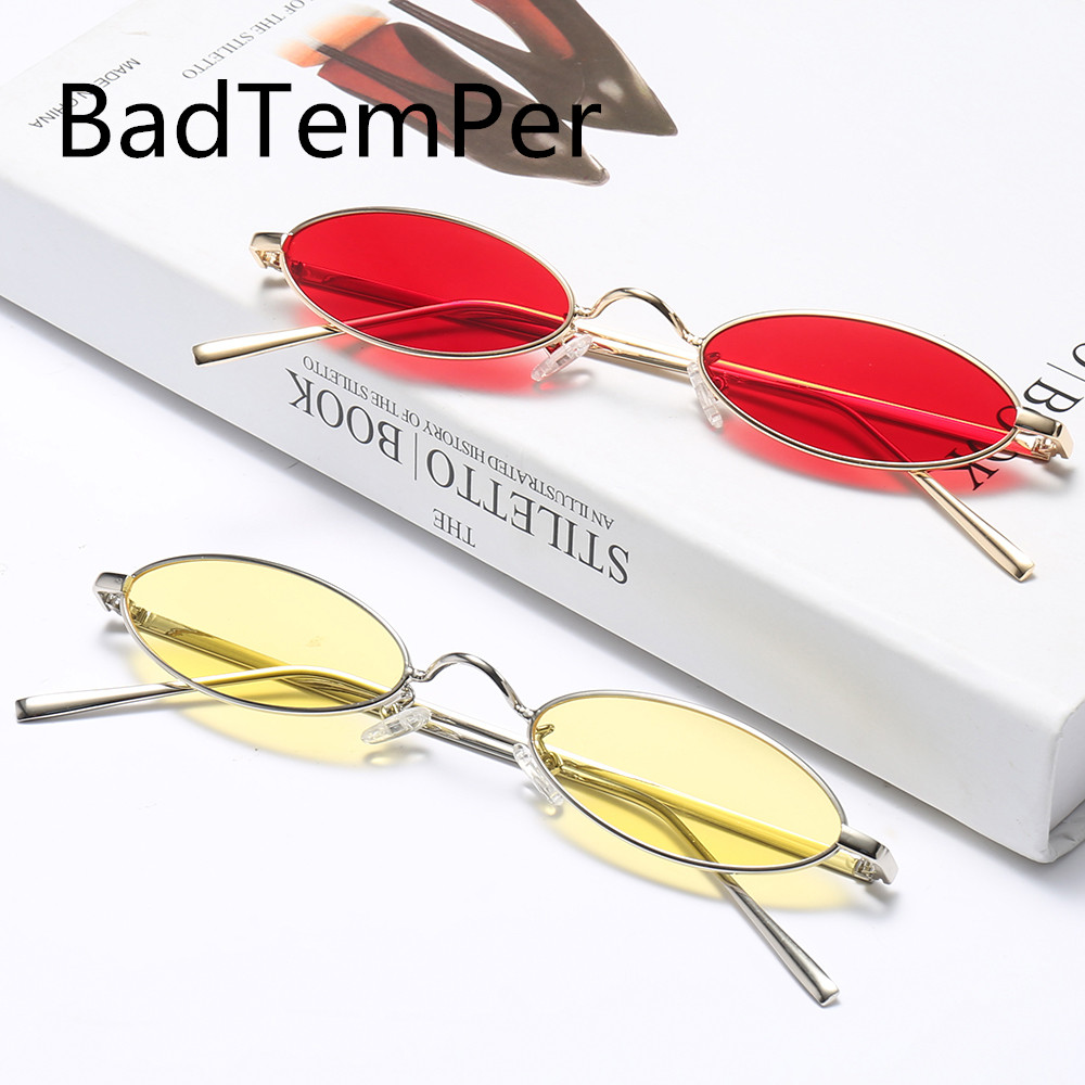 51212d568d Badtemper Fashion Small oval metal sunglasses women men Brand design Street  fashion retro sunglasses Frame clear