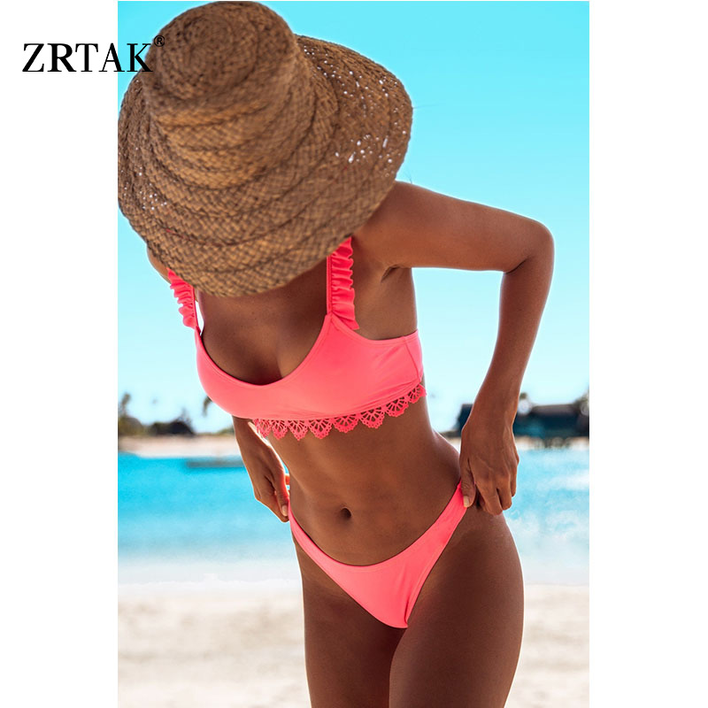 Zrtak Ruffle Bikinis 2019 Mujer Sexy Lace Biquinis Feminino Solid Swimwear Women Swimsuit Push Up Brazilian Bikini Set Ladies