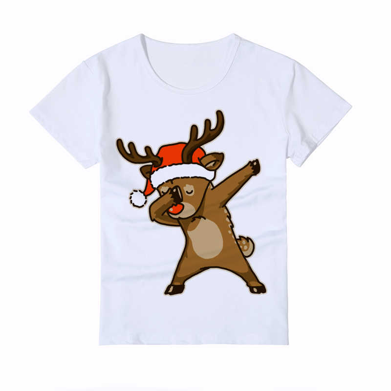 Dabbing Christmas deer funny Kid t shirt Children's white Casual tee boy girl shirt homme cute cartoon baby tshirts Y2-4