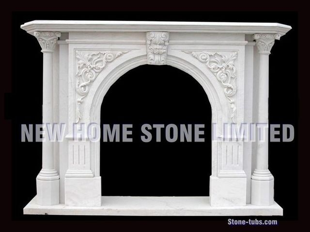 How To Build Fireplace Mantel White Marble Carving Fireplace Surround 2 Columns Corbel Legs