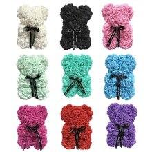 Handmade Valentines Gift Rose bear Multicolor 25cm PE Bear for Wedding Girlfriend Anniversary Diy birthday gift
