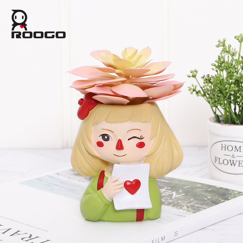 Image 3 - Roogo Ghost Horse Girl Flowerpot Playful Flower Pot For Home Garden Cute Succulents Plant Pot Decorative Flowers Pot-in Flower Pots & Planters from Home & Garden