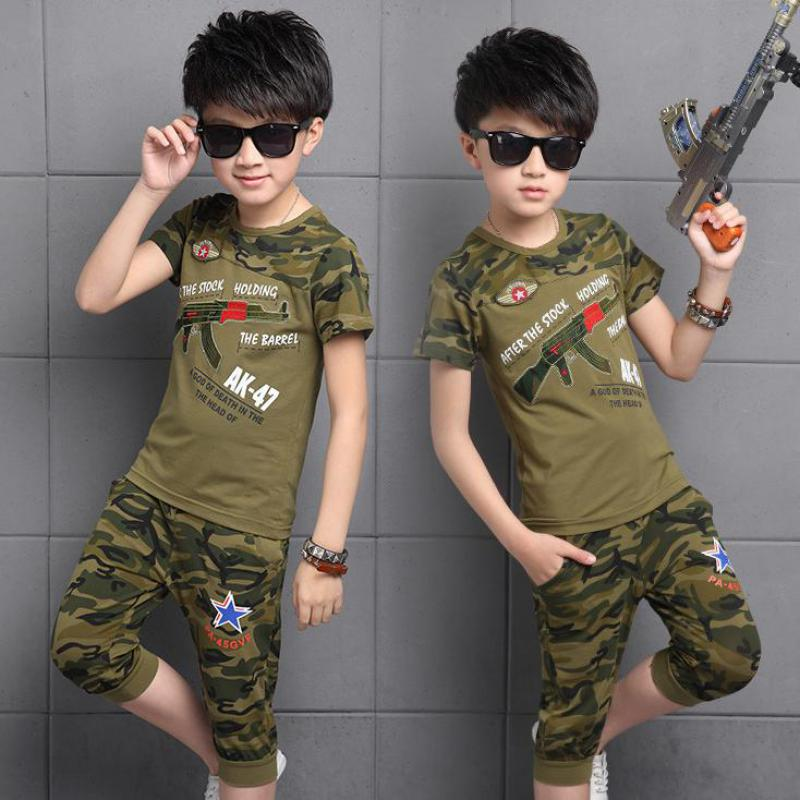 Spring Kids Clothes Pullover Sports Suit Hot Sale New 2018 Casual Boys Clothing Set Camouflage Print T-shirts + Pants 10 12 Year