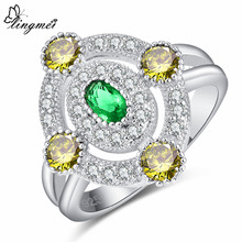 lingmei Oval Cut Purple & Green Olive White Silver Color Ring Size 6 7 8 9 Women Fashion Wedding Jewelry Anniversary Gift