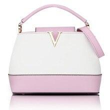 Women handbag designer dual color messenger bags lady purse plane shell V-hook pu leather shoulder crossbody bag feminino bolsos