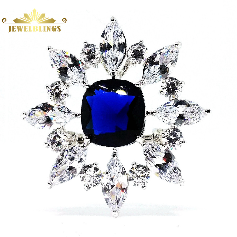 Queen Victoria Square CZ Stone Center Royal Blue Brooch Silver Tone Open Marquise Flower Cluster Vintage Art Deco Burst Star Pin