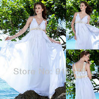 Princess Gown For Maternity White Chiffon Wedding Dress Dresses For Pregnant Women V Neckline Empire Beach