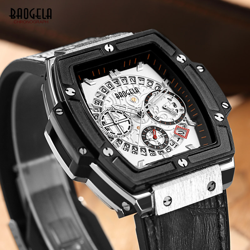 Baogela Original Men Watch Leathter Chronograph Military Watches Sports Quartz Wristwatches Reloj Hombre Clock Men Hour