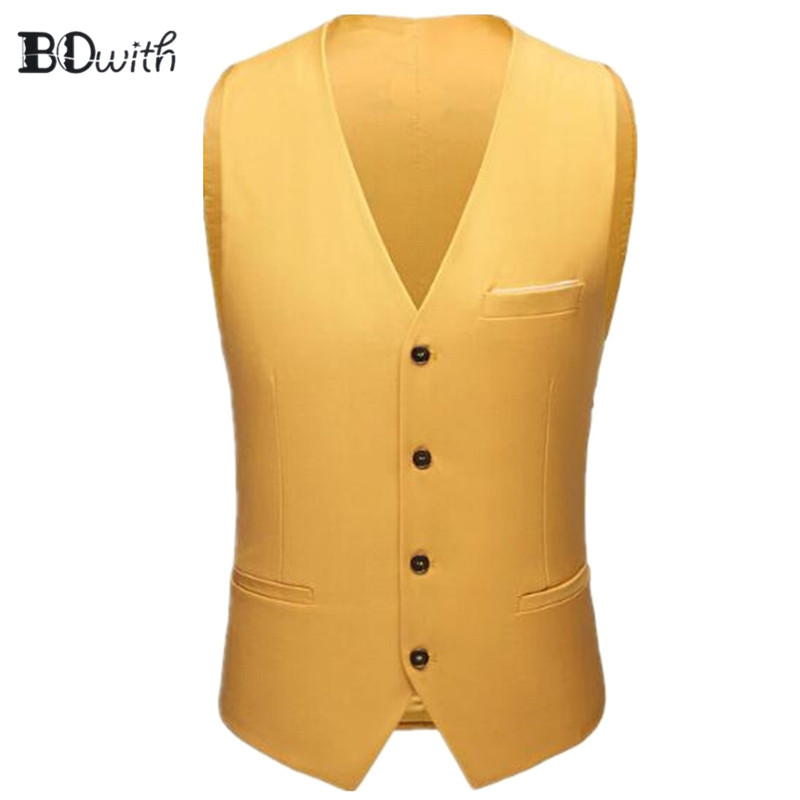 2019 Newest Yellow Men's Sleeveless Slim Fit Suit Vest Single Breasted Four Buttons Business Dating Wedding Dress Waistcoat