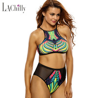 Cfanny 2016 Sexy Swimwear Women Push Up Brazilian Bikini Egyptian Digital Print Mesh Cutout 2pcs Tankinis