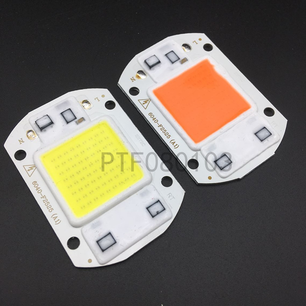 10pcs 20W 30W 50W White Warm White 400-840NM LED Floodlight COB Chip 110V 220V Input Integrated Smart IC Driver