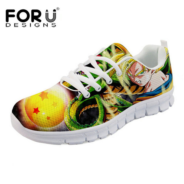 FORUDESIGNS Mens Casual Shoes Cool Anime Dragon Ball Z Men's Sneakers Breathable Mesh Light Super Saiyan Goku Flats for Students