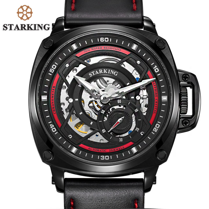 STARKING 2017 Military Sport Watch Men Top Brand Luxury Man Watch Steel Black Automatic Mechanical Wrist Watch Relogio Masculino недорго, оригинальная цена