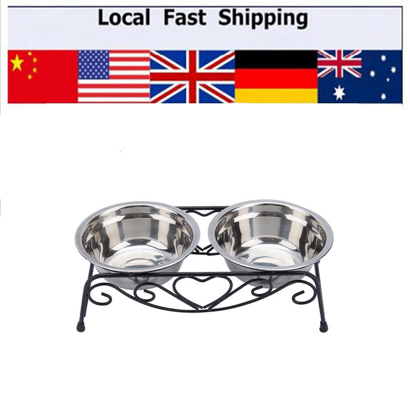 Pet Dog Bowl Stainless Steel Double Cat Dog Puppy Pet Water Food Feeder Dish Bowls Stand
