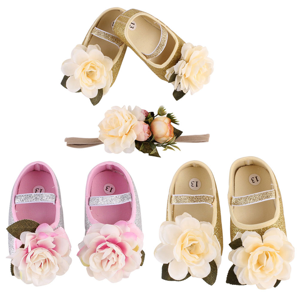 2018 New Baby Girl Flower Shoes Sneaker Anti-slip Hand Soft Toddler Shoes+1pc Hairband first walkers ...