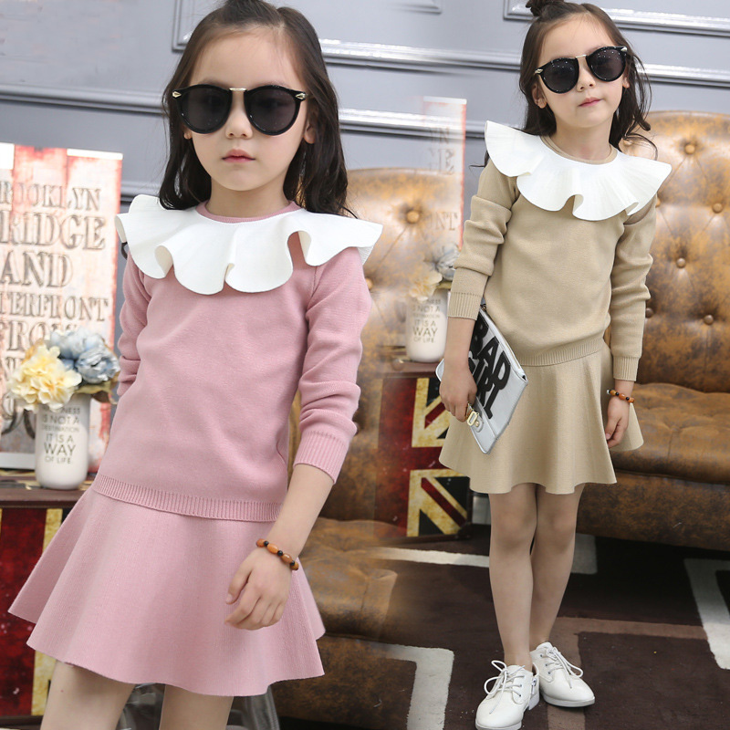 School Girls Clothes Sets Knitted Sweater + Skirt + Decorative Border Autumn Children Clothing Kids Outfits Clothing Sets H302 school girls brand cardigan clothes sets knitted sweater wave skirt 2pcs winter autumn warm children clothing kids outfits w75
