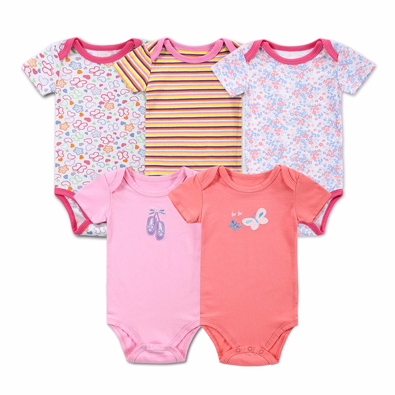 5 Pcslot Retail Baby Girl Clothes Cartoon Baby Bodysuit Girl Boy 0-12M Infant Short Sleeve Creeper Baby Boy Girl Bebe Body Suit (1)