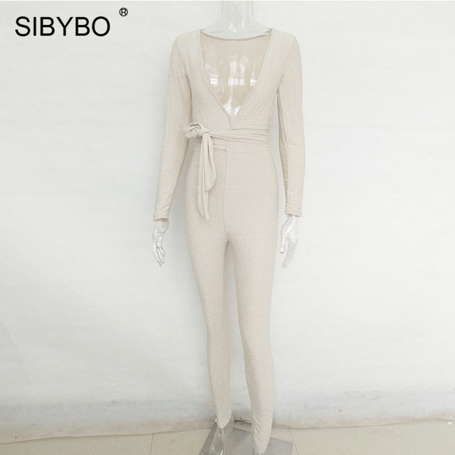 Sibybo Deep V-Neck Skinny Bandage Rompers Womens Jumpsuit Autumn Winter Long Sleeve Empire Women Rompers Casual Jumpsuit Women