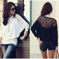 2013 Women's Ladies Batwing Loose Top T-Shirt Lace Long Sleeves