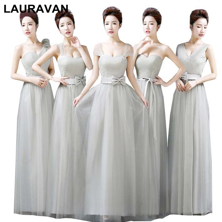 Long One Shoulder Grey Bridesmaid Adult Bride Maid Dresses Gary Dress With Straps For Weddings Ball Gown Under 50