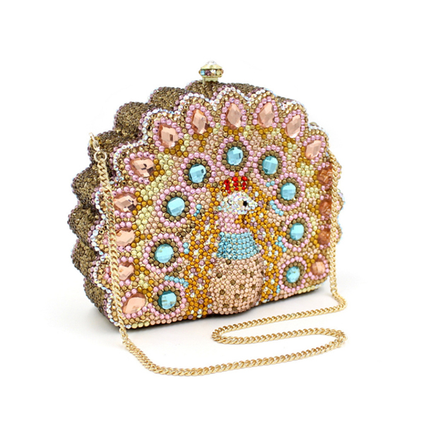 New Design Peacock Shape Evening Bag gold Crystal Luxury Clutch Bag full Diamond wallet Ladies Handbags Party Purse Wedding Bag