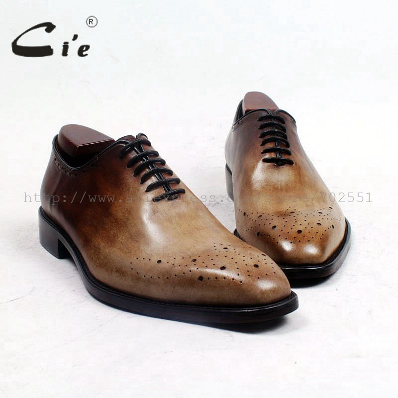 cie Square Toe Bespoke Custom Handmade Genuine Calf Leather Plain Toe Oxfords Color Patina Brown Lace