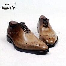 CIE квадратный носок эксклюзивная ручной работы bespoke из натуральной телячьей кожи плоские, для пальцев на ногах оксфорды цвет коричневый с оттенком патины кружево платье бизнес OX511