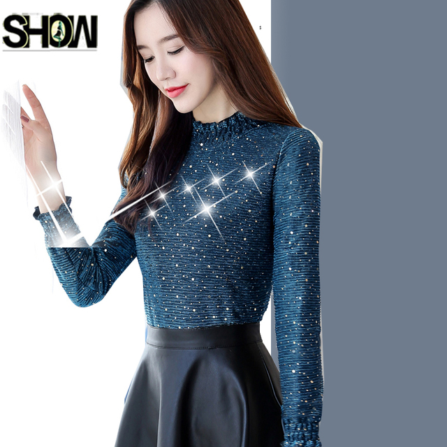 788b89f2a2a0a9 Winter Basic Shirts New Hot Sales Korea Style Design Tops Women Fashion  Long Sleeve Slim Elegant Office Lady Work Glitter Blouse