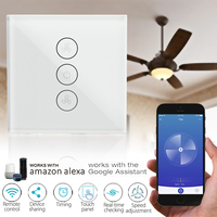 Smart Ceiling Fan 3 Gang EU Switch Wifi APP Timer Control Speed Remote Panel Regulation Home Wall Switch Works With Alexa Google