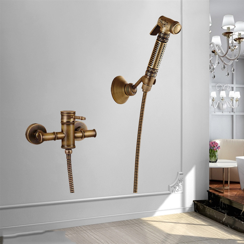 Uythner Modern Wall Monted Dual Handles Antique Brass Shower Swivel Faucet Mixer Tap antique brass swivel spout dual cross handles kitchen