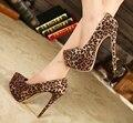 Плюс: 35-44 Оптовая 2016 ultra high 15 см тонкий Каблук Женщины Замши леопарда печати свадебная обувь Платформы острым носом косплей насосы
