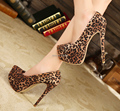 Plus:35-44 Wholesale 2016 ultra high 15cm thin Heel Women Suede leopard print wedding shoes Platforms Pointed toe cosplay pumps