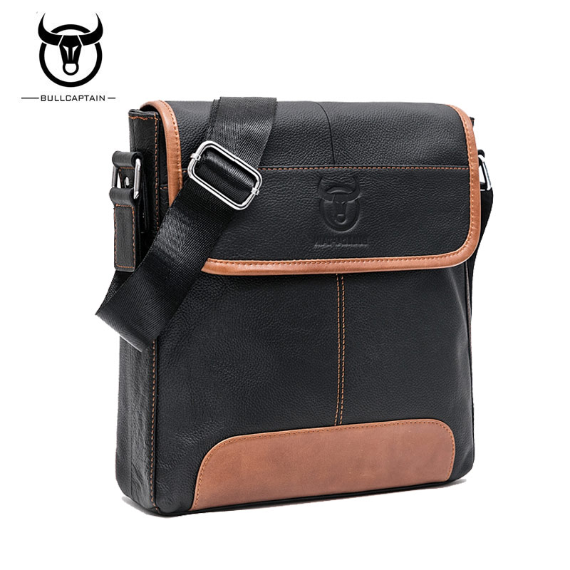 BULL CAPTAIN 2017 FASHION GENUINE LEATHER men CROSSBODY BAGS BRAND casual large capacity messenger bag MALE SHOULDER BAG 031