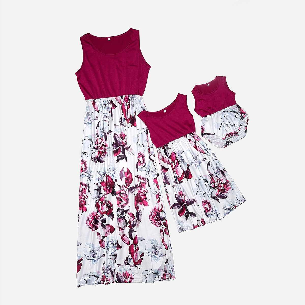 Estampado floral madre hija vestidos sin mangas mamá y yo ropa familia mirada alta cintura mamá bebé vestido a juego trajes